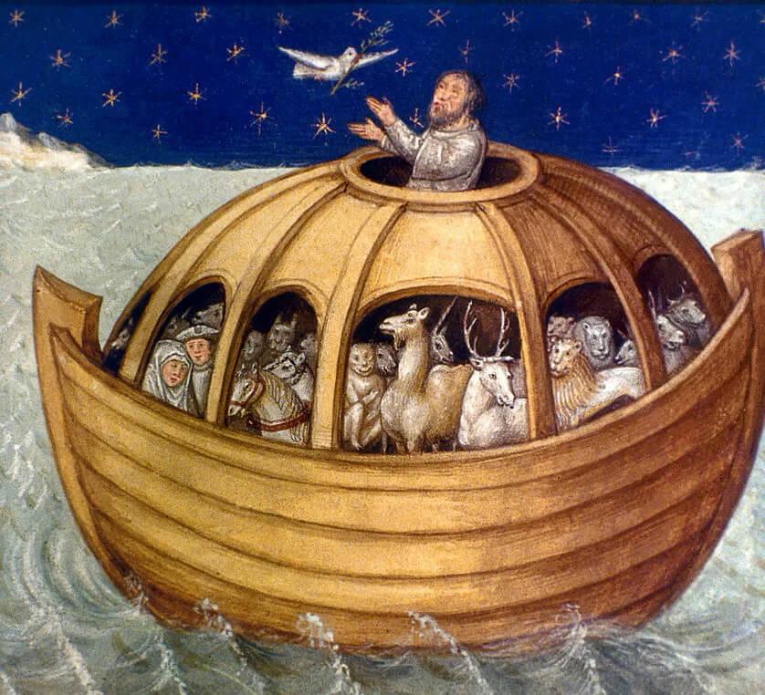 Ной на ковчеге, фреска